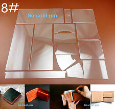 14pc Leathercraft Acrylic Perspex Short Wallet Pattern Stencil Template Tool Set