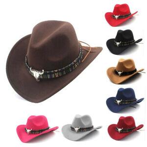 Womens Mens Hat Cowgirl Cowboy Wild West Hats Western Headwear Wide Brim Cap
