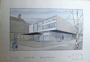 ORIGINAL ARCHITECTURAL DRAWING - A CIVIC THEATRE - PERSPECTIVE - SHEET 6