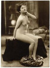 French nude woman Very nice pose Large vintage gelatin silver photo 1900c L329