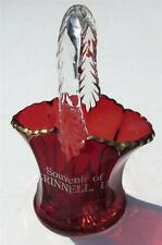 Old Antique Ruby Red Flash Glass Miniature Brides Basket GRINNELL IA Souvenir