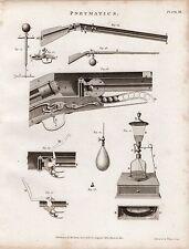 1802 Georgiano stampa ~ disegni PNEUMATICI ~ PISTOLA diagrammi di Artiglieria