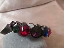 """NWT GUNMETAL with LARGE Multicolored FACETED GEMSTONE BRACELET, Stretch, 7 1/2"""""""
