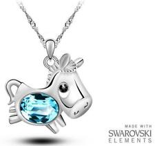 Made with Swarovski Elements Blue Horse / Pony Pendant and Necklace RRP £40