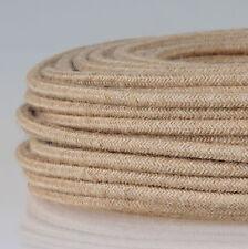 Textilkabel Lampenkabel 3-adrig 3x1,5mm² Leinen beige Jute Ersatzkabel Premium