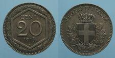 REGNO D'ITALIA VITT.EMAN.III 20 CENTESIMI 1918 ESAGONO BORDO RIGATO SPL