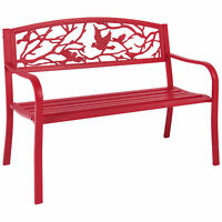 BCP Rose Red Steel Patio Garden Park Bench Outdoor Living Patio Furniture
