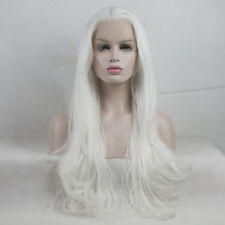 "24"" White Long Wavy Fashion Heat Resistant Brazilian Lace Front Wig Halloween"