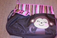 Carter's Diaper Bag Tote Monkey with Brown and Pink Stripes Baby Bag super  cute
