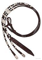 Silver Ferrule Show Romel Reins - Dark Chocolate Rawhide - 24 oz.