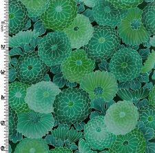 Kona Bay Collette Collection Jade Floral Tone-on-Tone Zinnias BTY