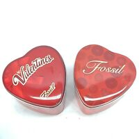 Empty Fossil Tin Box Watch Long Collectible USA Gift Boxes Hearts Valentines Red