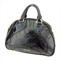 Miu Miu Hand bag Logo Black Gold Enamel leather Woman Authentic Used T8703