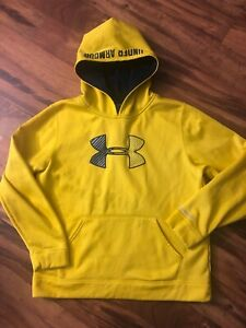 Under Armour Storm Yellow & Black Hooded Sweatshirt Hoodie Youth XL, VGC