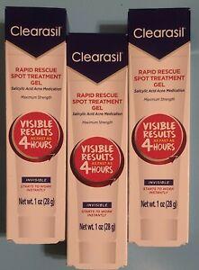 3 CLEARASIL RAPID RESCUE SPOT TREATMENT CREAM 1 OZ. EACH - EXP: 02/21
