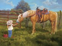 An Apple A Day  by June Dudley Little Cowgirl Big Horse 16x20 Western Art Print