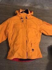 OBERMEYER Ski Jacket Women's 8 Orange Full Zip Medium M Hood Coat THERMOLITE