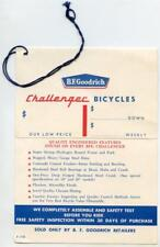 Vintage 1960s B F Goodrich CHALLENGER Bicycle Hang Tag