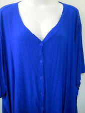 MIB 6X Bright Blue Blouse Shirt Rayon Made in USA V Neck Button Front Texture