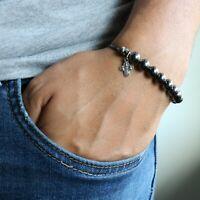 Rosary Bracelet Camo Paracord Handmade Black Gunmetal Plated Beads Catholic