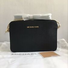 Authentic Michael Kors Jet Set Large Saffiano Leather Crossbody Black
