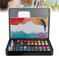 36 couleurs Pigment Set de peintures aquarelle solide avec brosse a eau pou