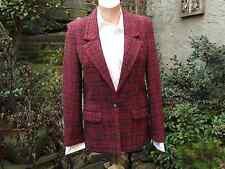 Carole Andrews Red and Black Plaid Single Breasted Harris Tweed Blazer, sz. 8-10