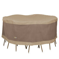 Duck Covers Elegant Round Durable Water Resistant Patio Table & Chair Set Cover
