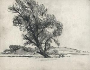 FRANK LEWIS EMANUEL (1865-1948) Pencil Drawing TREE IN LANDSCAPE - 20TH CENTURY