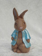 Brand New Ceramic Brown Bunny Rabbit Blue Coat Jacket Animal Figurine Ornament.