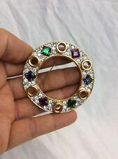 Beautiful Vtg Modernist Faux Diamond Ruby Emerald Faux Gems gold tone pin brooch
