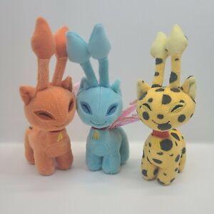 Lot Of 3 2008 Aisha Neopets Plush Toys No Codes Orange Teal Yellow w Black Spots