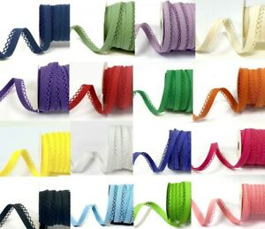 REDUCED! Pre-Fold 12mm Lace Edge Cotton Bias Binding - per metre or 25m roll