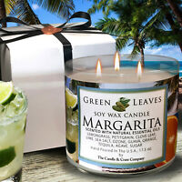 Handmade, Hand Poured, all Natural Margarita 100% Soy Candle in 17.5 oz 3 Wick