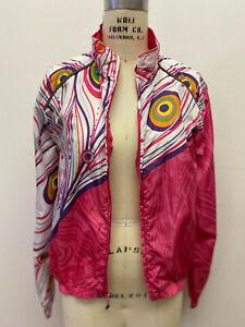 Canari Windbreaker Jacket Peacock Pink Swirl Windshell Sz Large Zip Pocket