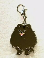 Dark Brown Pomeranian Dog Pup Bag Purse Charm Dangle Zipper Pull Jewelry