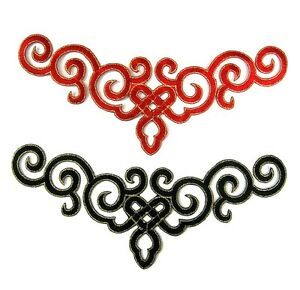 Black Red Applique Iron-On Embroidered Trim for Ballet Dance Stage Costume #71