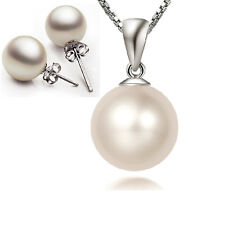 925 Silver 10mm Pearl Pendant Necklace Earrings Stud Sets Womens Jewelry
