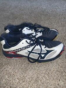 Women's Mizuno Wave Lightning Volleyball Shoes 9 Red White Blue Patriotic EUC