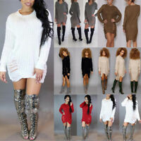 Womens Long Sleeve Sweater Jumper Mini Dress Winter Knitted Baggy Party Loose IU