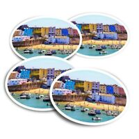 4x Round Stickers 10 cm - Tenby Harbour Wales UK Travel Boats  #24293