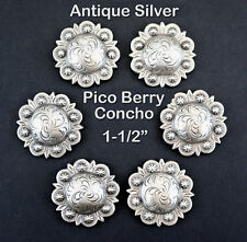 "LOT OF 6 CONCHOS ANTIQUE SILVER PICO BERRY WESTERN RODEO LEATHER 1-1/2 "" NEW"