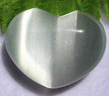 Beautiful unique light grey cat eye gemstone heart CAB cabochon Vk246