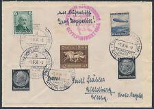 Zeppelin Olympiafahrt 1936 Blockfrankatur auf Beleg (S15459)