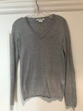 LACOSTE Gray V-Neck Sweater 34 Small