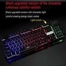 Colorful Crack LED Illuminated Backlit USB Wired PC Rainbow Gaming Keyboard key