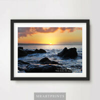 ROUGH SEA SUNSET SEA OCEAN Art Print Poster Deep Saturated Nature Picture Decor