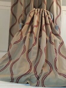 HARLEQUIN KARA embroidered fabric curtains Thermal Blackout 2 pr available Red