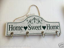 Wooden Home Sweet Home Coat Wall Hook - Shabby Chic Hooks