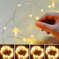 50 / 100LED Batterie Micro Reis Draht Kupfer Fairy String Licht Partei Weiß /RGB